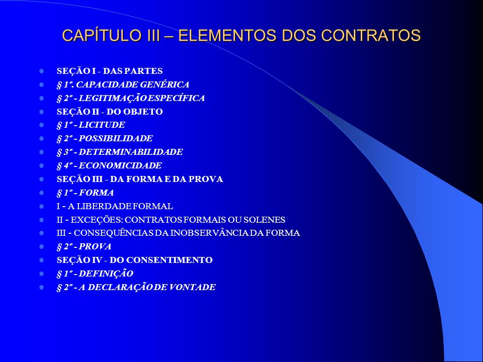 CAPÍTULO III – ELEMENTOS DOS CONTRATOS