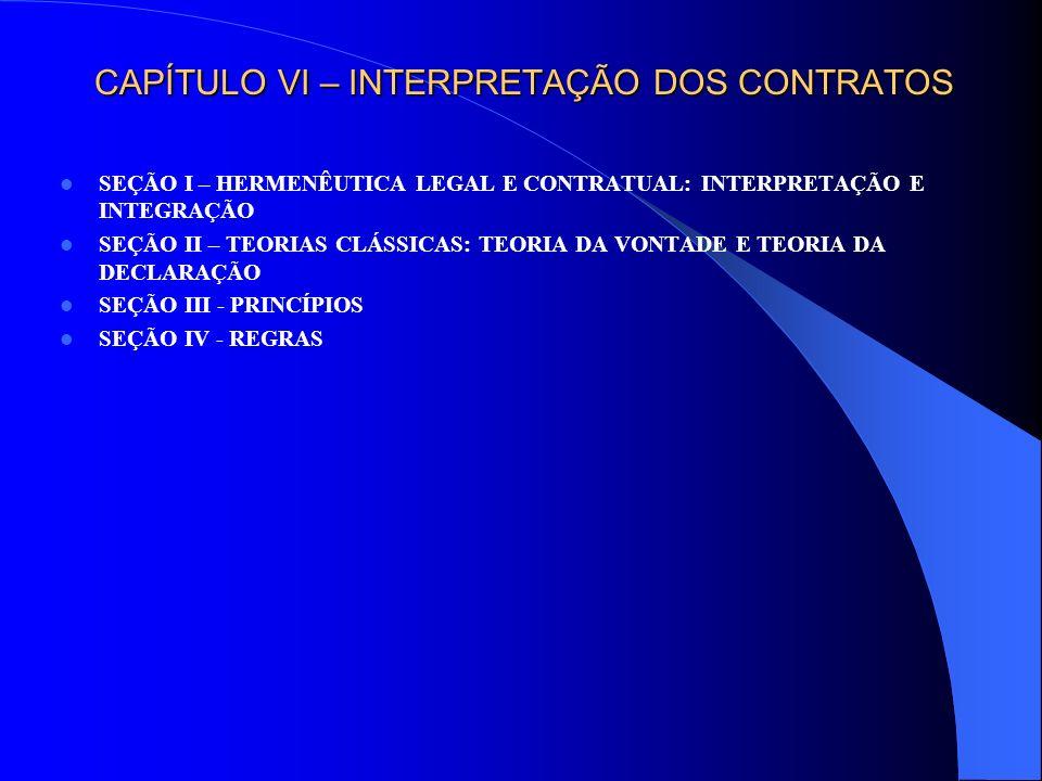 CAPÍTULO VI – INTERPRETAÇÃO DOS CONTRATOS