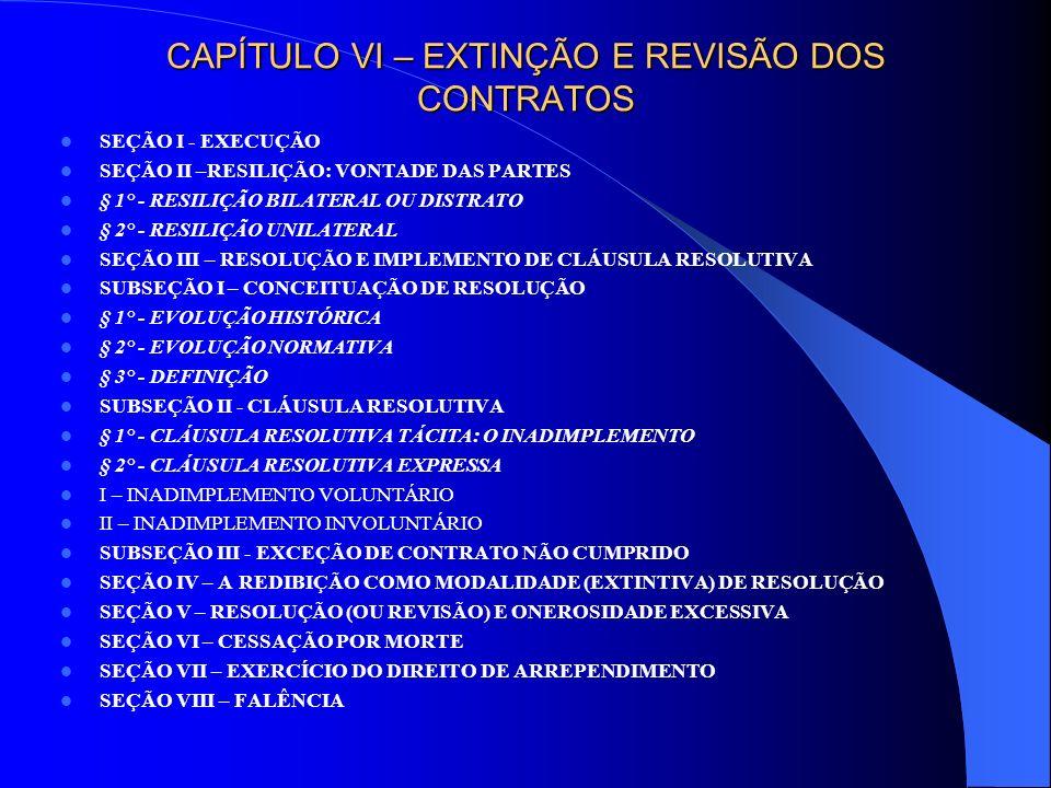 CAPÍTULO VI – EXTINÇÃO E REVISÃO DOS CONTRATOS
