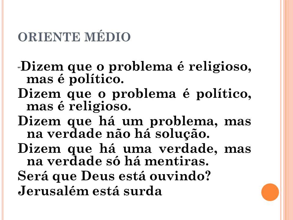 Dizem que o problema é político, mas é religioso.