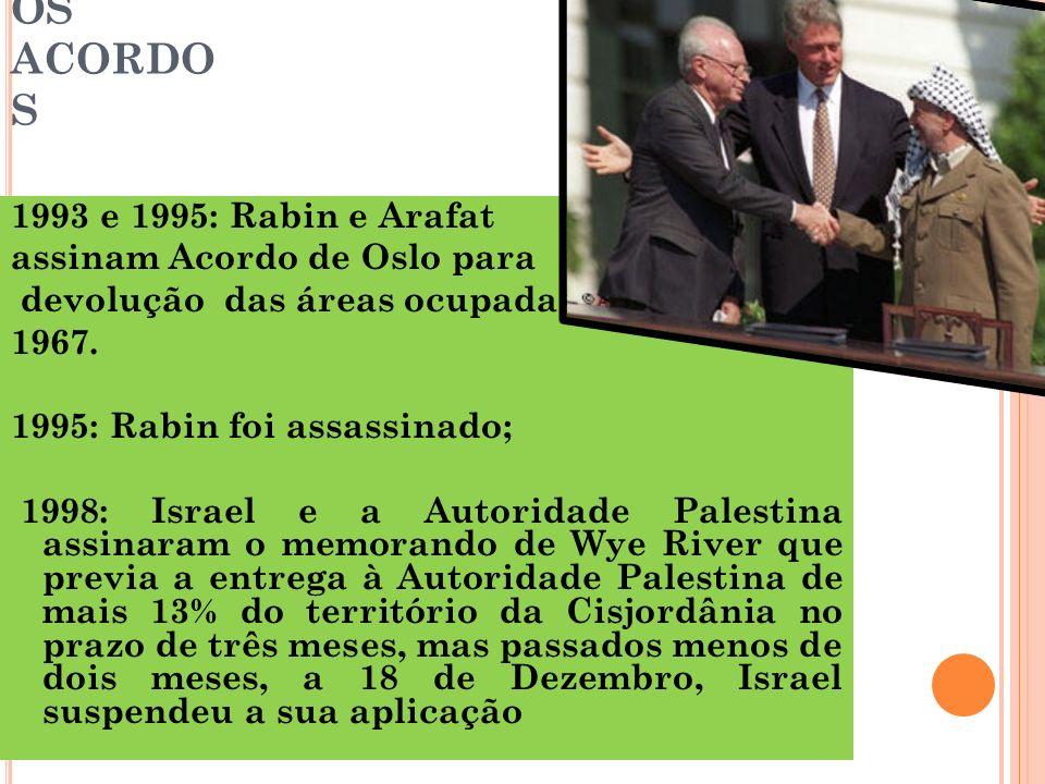 OS ACORDOS 1993 e 1995: Rabin e Arafat assinam Acordo de Oslo para
