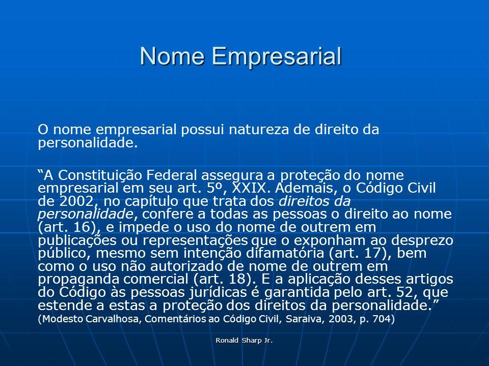 Nome Empresarial O nome empresarial possui natureza de direito da personalidade.