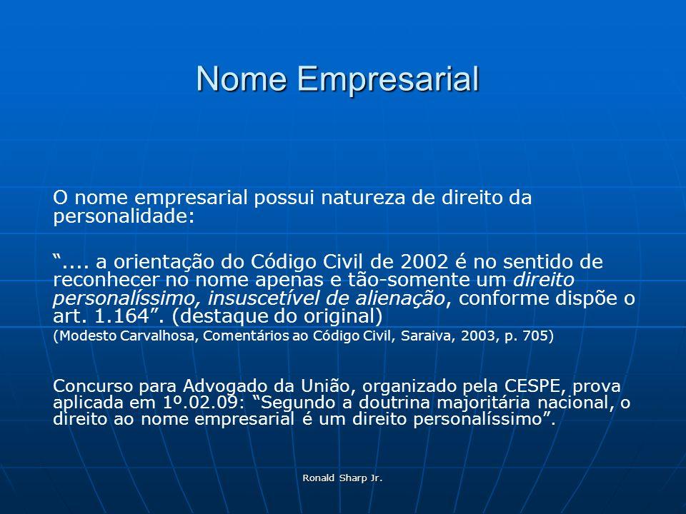Nome Empresarial O nome empresarial possui natureza de direito da personalidade: