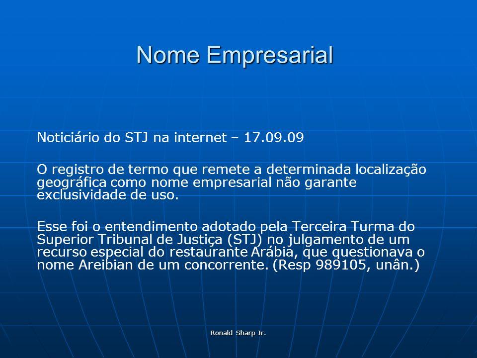Nome Empresarial Noticiário do STJ na internet – 17.09.09