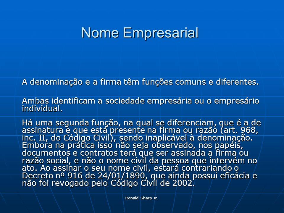 Nome Empresarial A denominação e a firma têm funções comuns e diferentes. Ambas identificam a sociedade empresária ou o empresário individual.