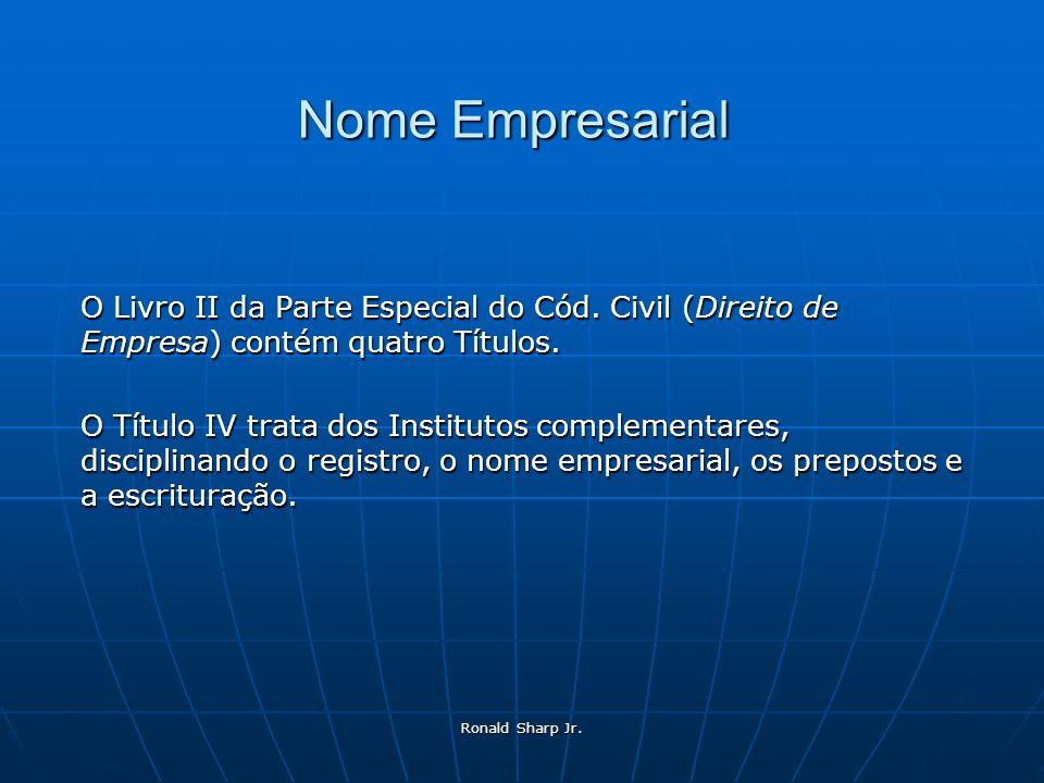 Nome Empresarial O Livro II da Parte Especial do Cód. Civil (Direito de Empresa) contém quatro Títulos.