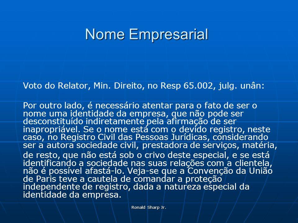 Nome Empresarial Voto do Relator, Min. Direito, no Resp 65.002, julg. unân: