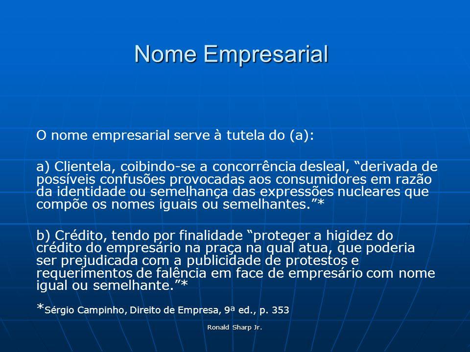 Nome Empresarial O nome empresarial serve à tutela do (a):