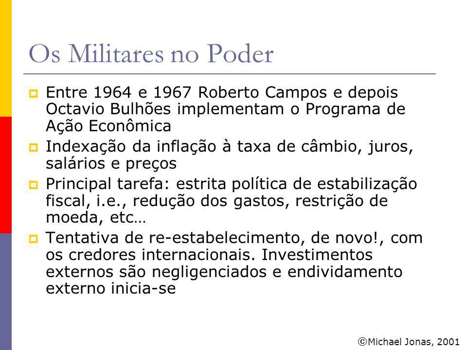 Os Militares no Poder Entre 1964 e 1967 Roberto Campos e depois Octavio Bulhões implementam o Programa de Ação Econômica.