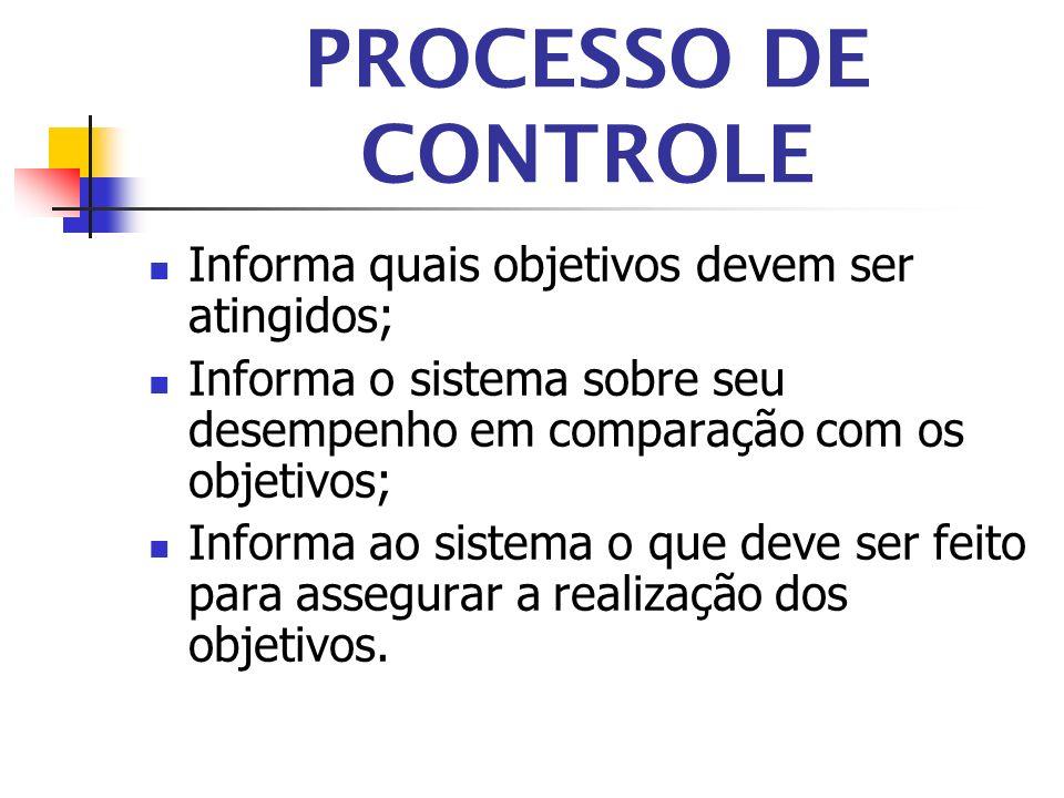 PROCESSO DE CONTROLE Informa quais objetivos devem ser atingidos;