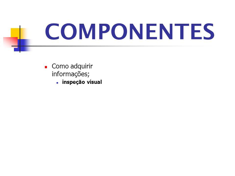 COMPONENTES Como adquirir informações; inspeção visual