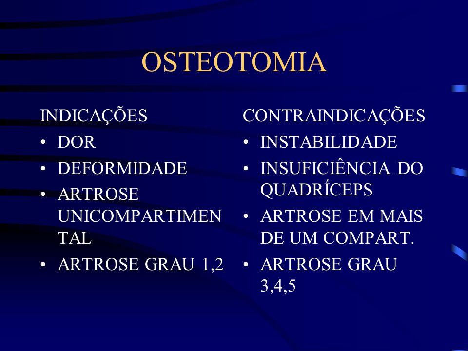 OSTEOTOMIA INDICAÇÕES DOR DEFORMIDADE ARTROSE UNICOMPARTIMENTAL