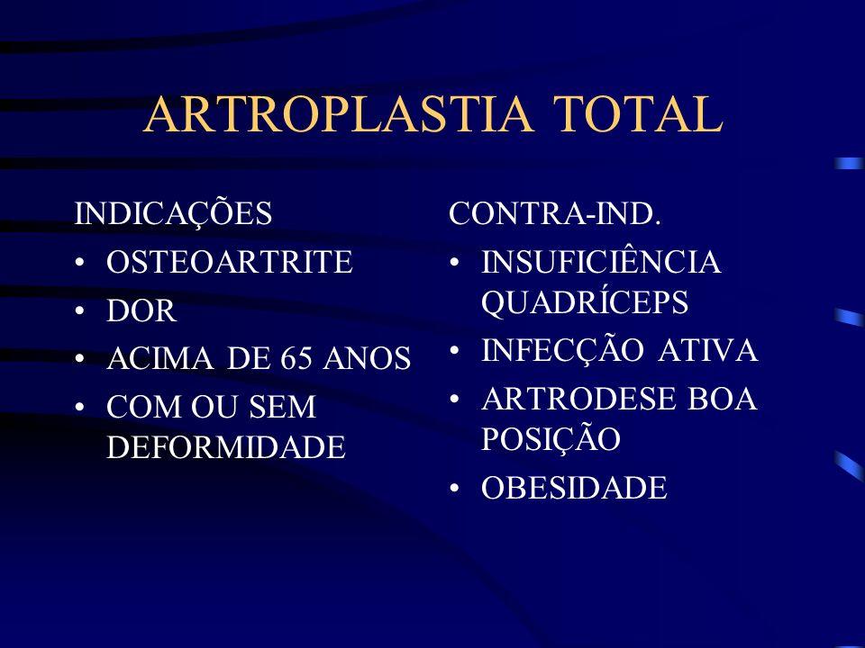 ARTROPLASTIA TOTAL INDICAÇÕES OSTEOARTRITE DOR ACIMA DE 65 ANOS