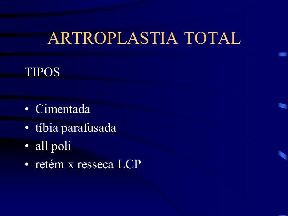 ARTROPLASTIA TOTAL TIPOS Cimentada tíbia parafusada all poli