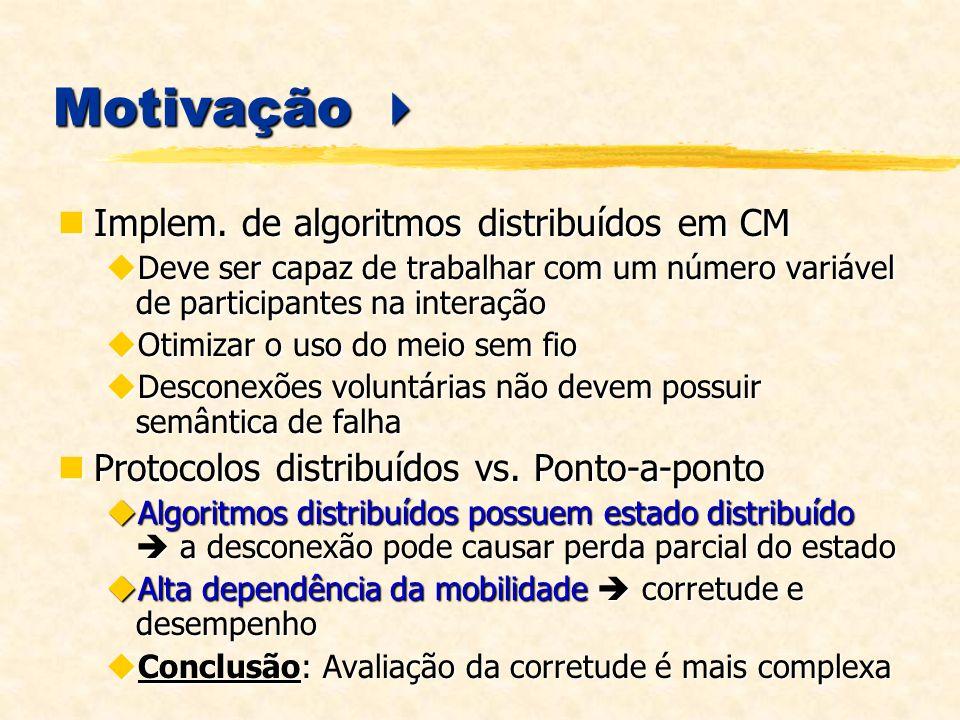 Motivação  Implem. de algoritmos distribuídos em CM
