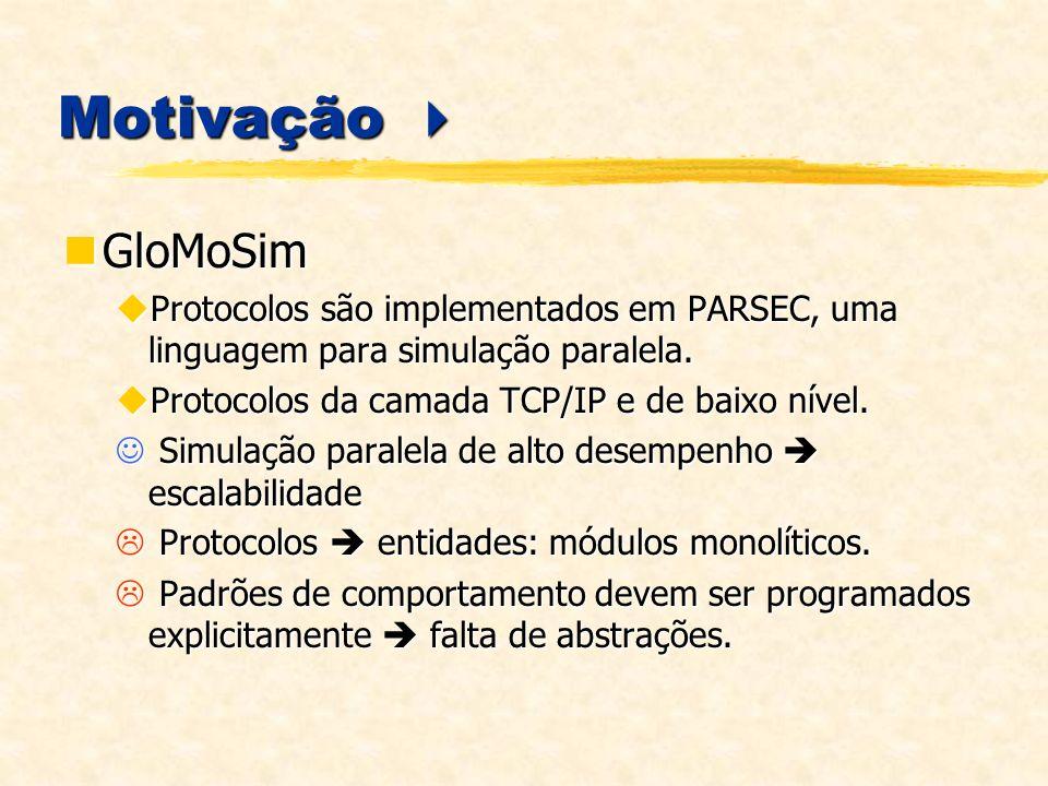Motivação  GloMoSim. Protocolos são implementados em PARSEC, uma linguagem para simulação paralela.