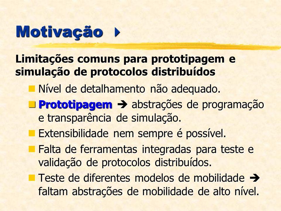 Motivação  Limitações comuns para prototipagem e simulação de protocolos distribuídos. Nível de detalhamento não adequado.
