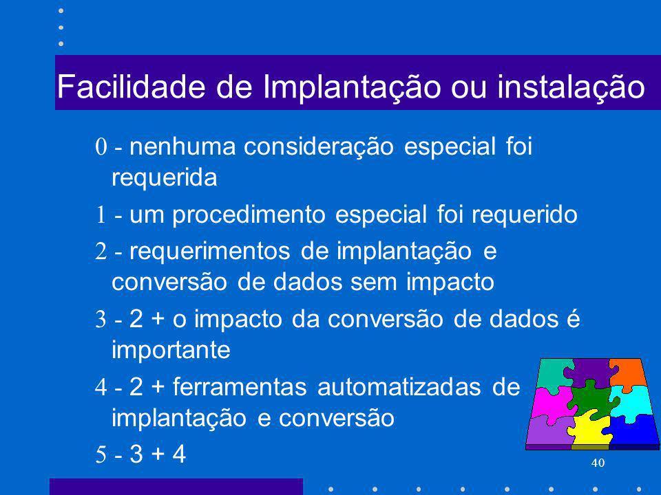 Facilidade de Implantação ou instalação