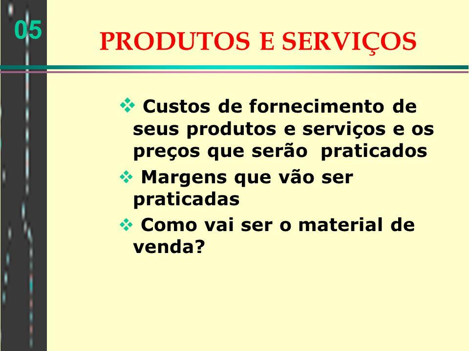 PRODUTOS E SERVIÇOS Custos de fornecimento de seus produtos e serviços e os preços que serão praticados.