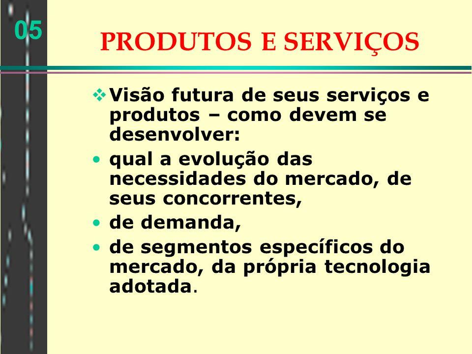 PRODUTOS E SERVIÇOS Visão futura de seus serviços e produtos – como devem se desenvolver: