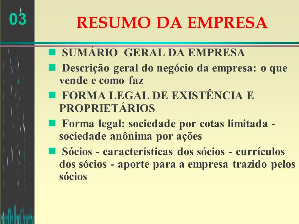 RESUMO DA EMPRESA SUMÁRIO GERAL DA EMPRESA