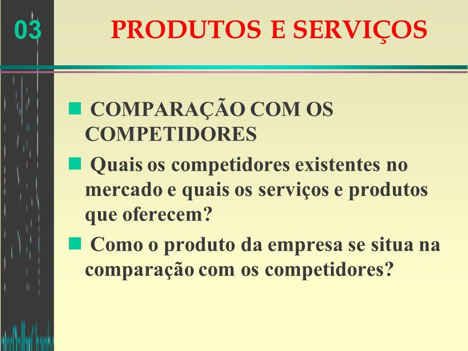 PRODUTOS E SERVIÇOS COMPARAÇÃO COM OS COMPETIDORES