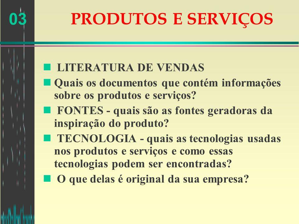PRODUTOS E SERVIÇOS LITERATURA DE VENDAS