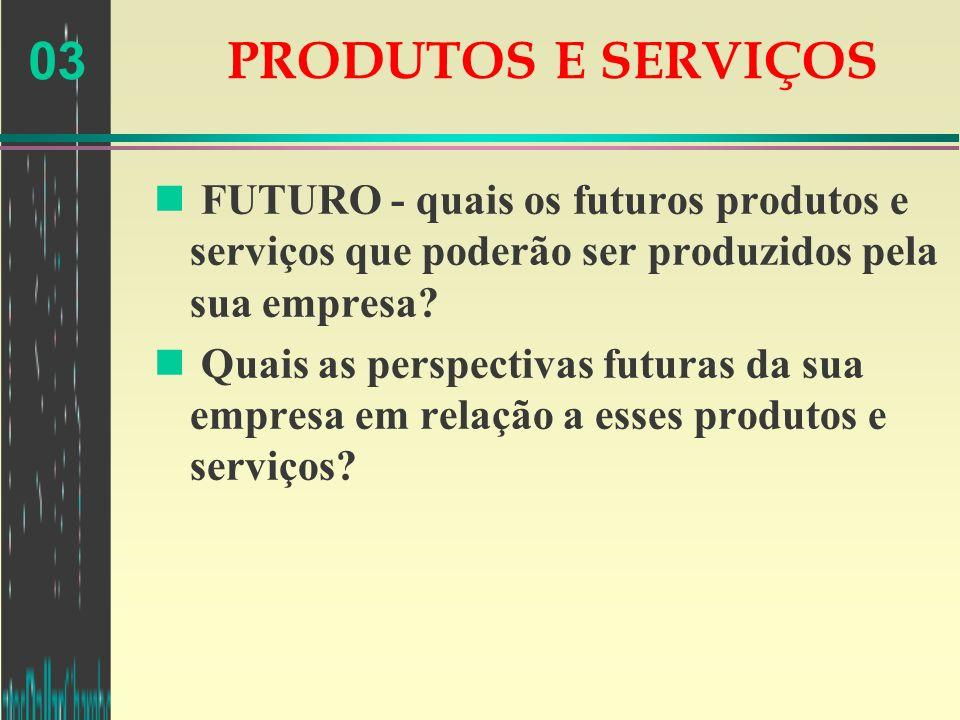 PRODUTOS E SERVIÇOS FUTURO - quais os futuros produtos e serviços que poderão ser produzidos pela sua empresa