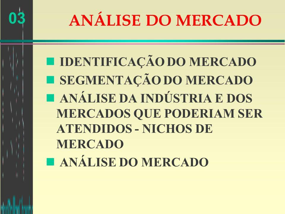 ANÁLISE DO MERCADO IDENTIFICAÇÃO DO MERCADO SEGMENTAÇÃO DO MERCADO