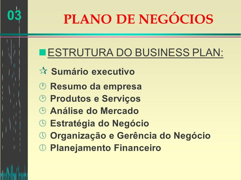 PLANO DE NEGÓCIOS ESTRUTURA DO BUSINESS PLAN: Sumário executivo