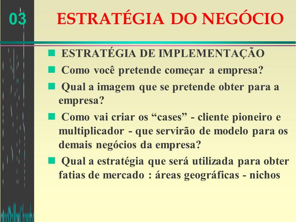 ESTRATÉGIA DO NEGÓCIO ESTRATÉGIA DE IMPLEMENTAÇÃO