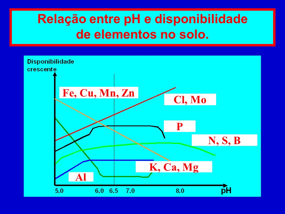 Relação entre pH e disponibilidade de elementos no solo.