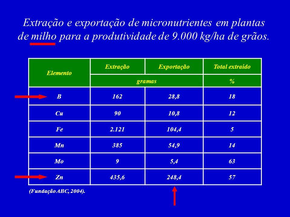 Extração e exportação de micronutrientes em plantas de milho para a produtividade de 9.000 kg/ha de grãos.
