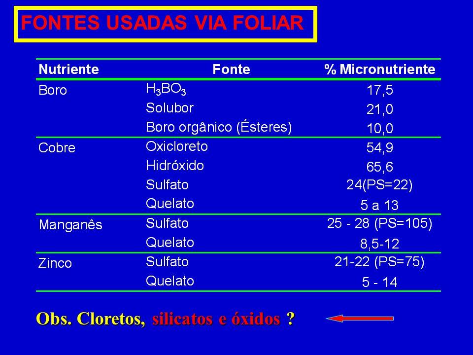 Obs. Cloretos, silicatos e óxidos