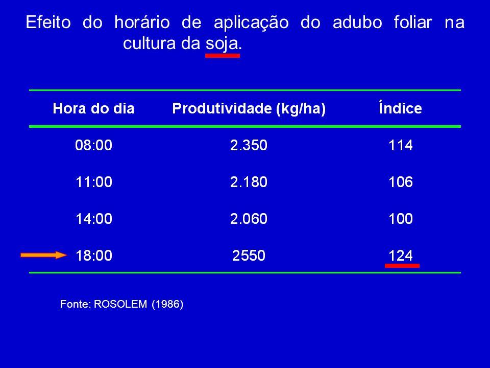 Efeito do horário de aplicação do adubo foliar na cultura da soja.