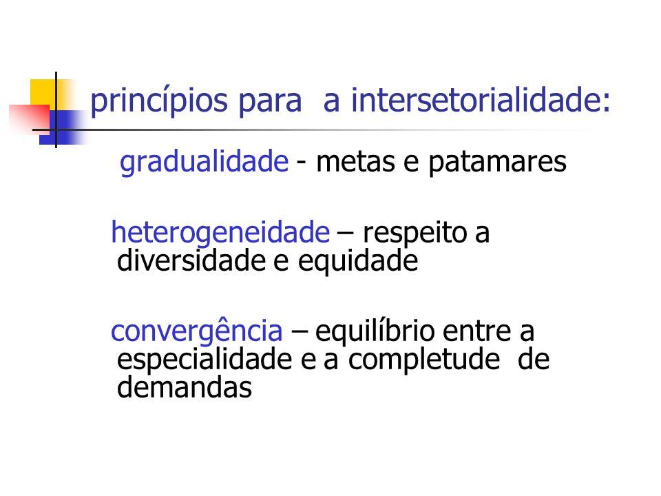 princípios para a intersetorialidade: