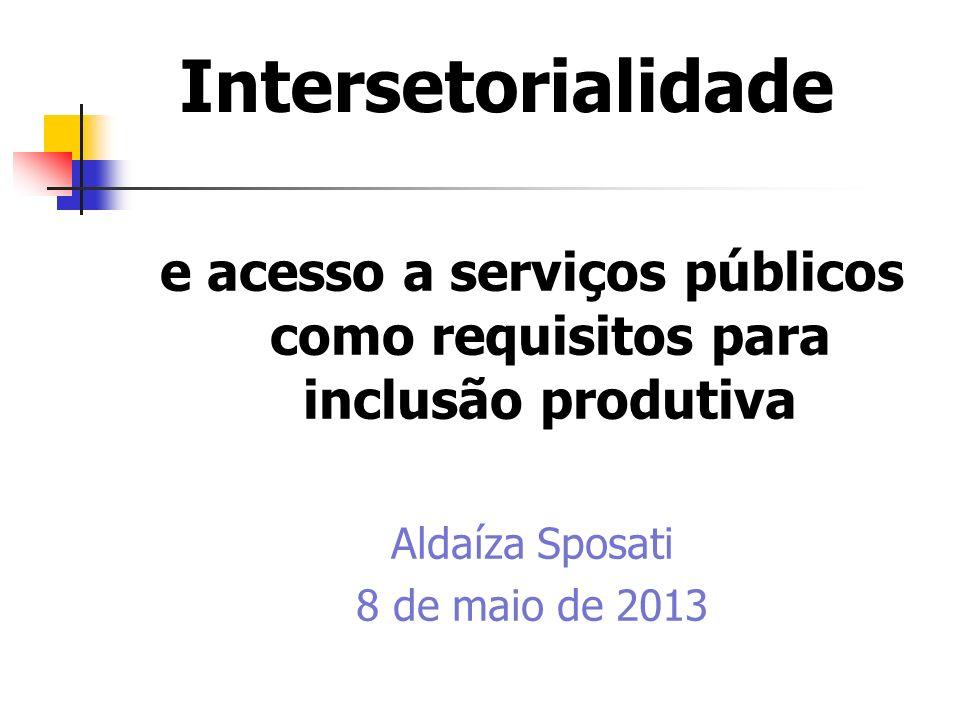 e acesso a serviços públicos como requisitos para inclusão produtiva
