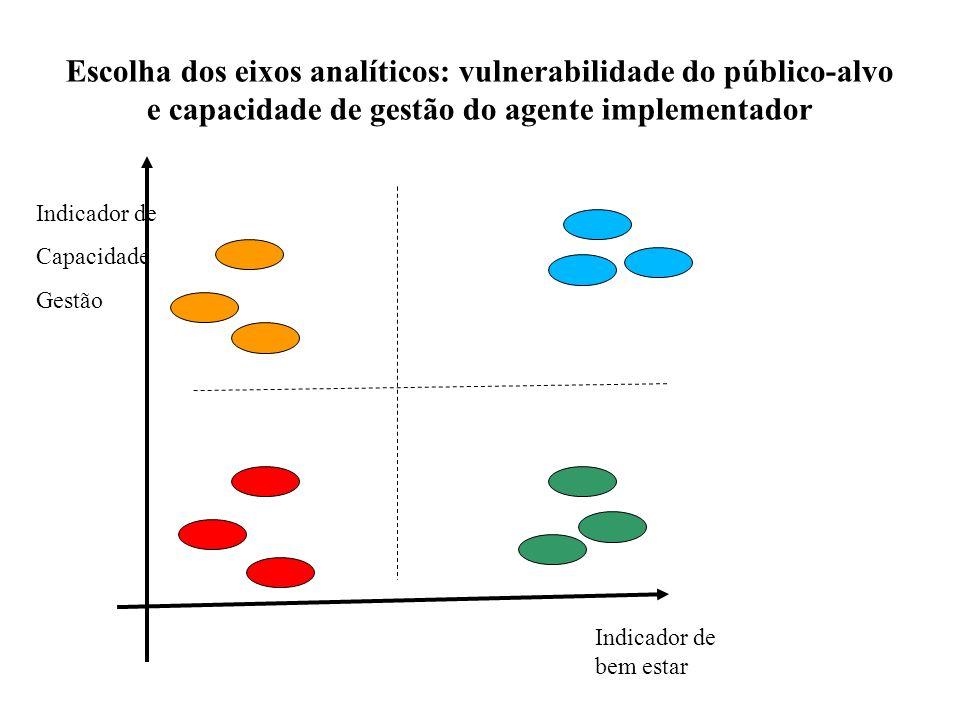 Escolha dos eixos analíticos: vulnerabilidade do público-alvo e capacidade de gestão do agente implementador