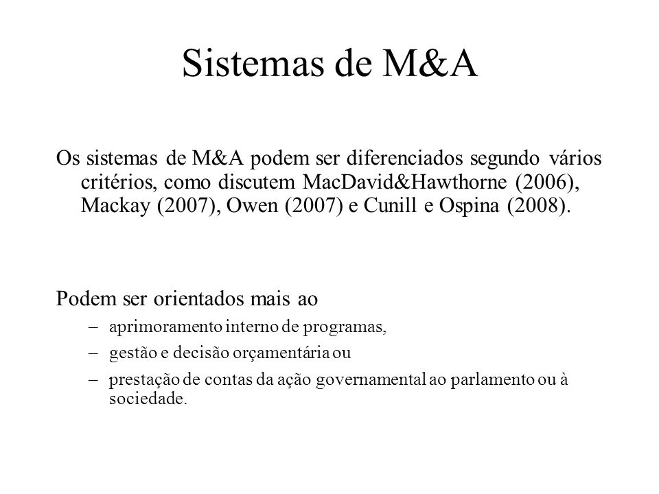 Sistemas de M&A