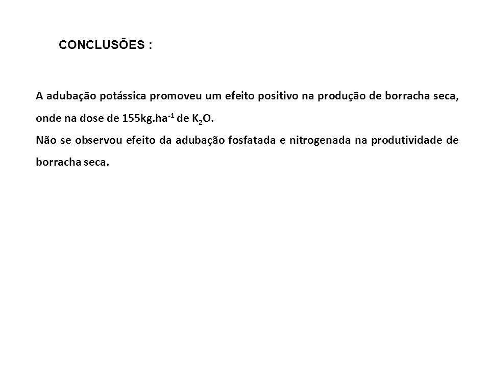 CONCLUSÕES :A adubação potássica promoveu um efeito positivo na produção de borracha seca, onde na dose de 155kg.ha-1 de K2O.