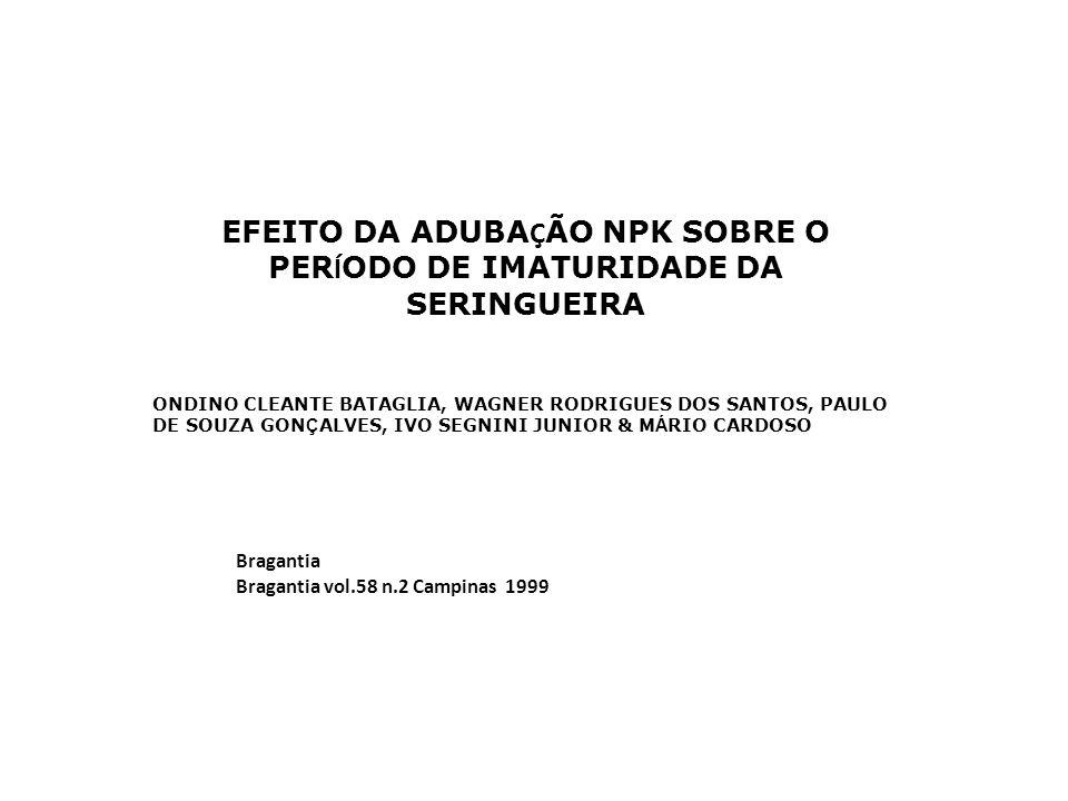 EFEITO DA ADUBAÇÃO NPK SOBRE O PERÍODO DE IMATURIDADE DA SERINGUEIRA