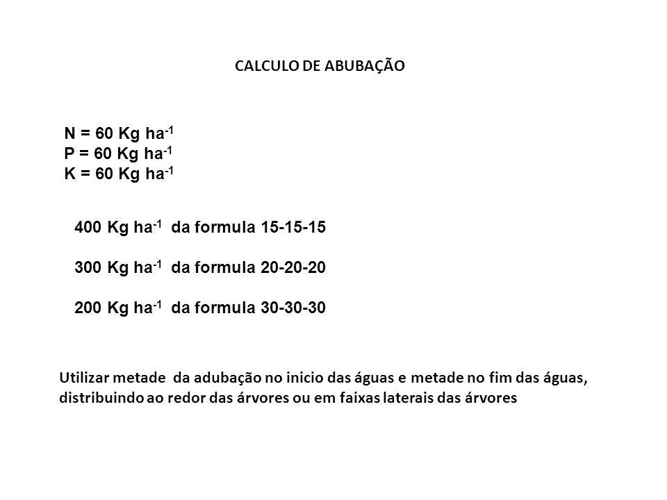 CALCULO DE ABUBAÇÃON = 60 Kg ha-1. P = 60 Kg ha-1. K = 60 Kg ha-1. 400 Kg ha-1 da formula 15-15-15.