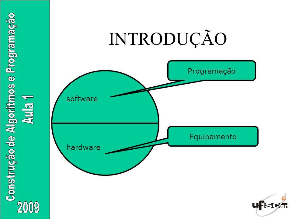 INTRODUÇÃO Programação software Equipamento hardware