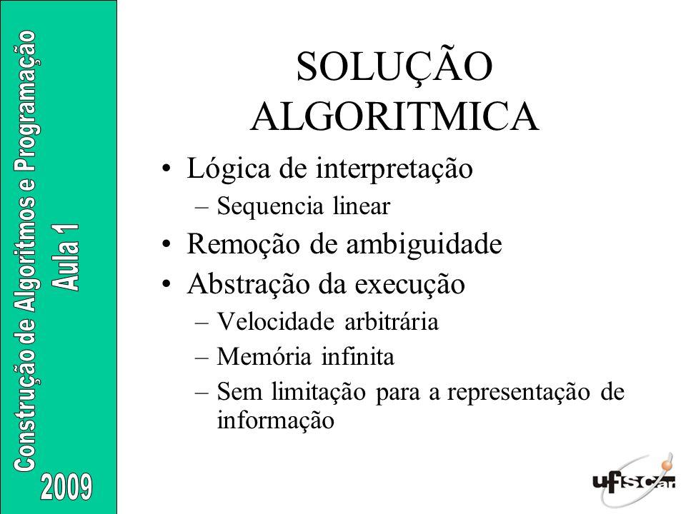 SOLUÇÃO ALGORITMICA Lógica de interpretação Remoção de ambiguidade