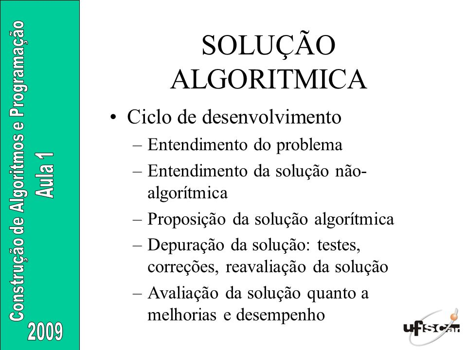 SOLUÇÃO ALGORITMICA Ciclo de desenvolvimento Entendimento do problema