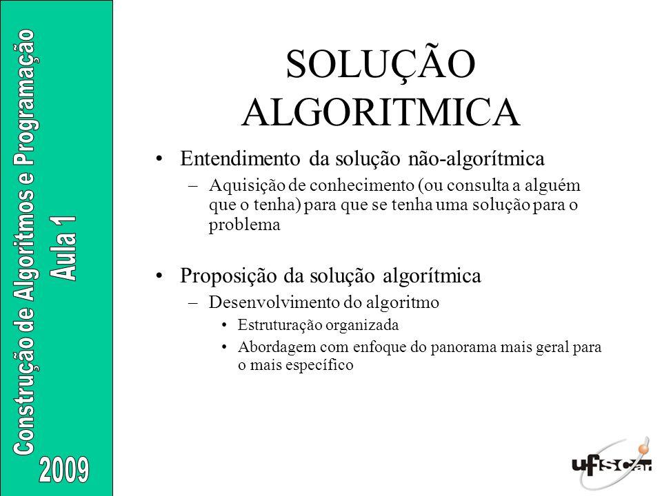 SOLUÇÃO ALGORITMICA Entendimento da solução não-algorítmica
