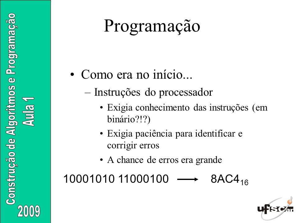 Programação Como era no início... Instruções do processador