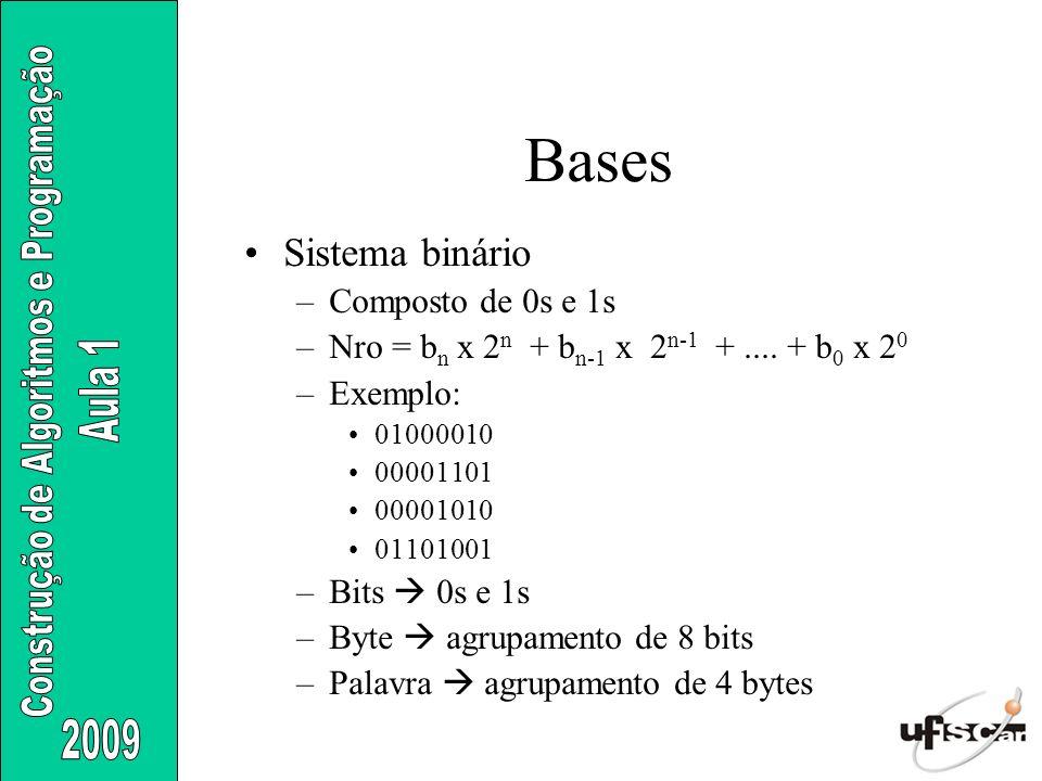 Bases Sistema binário Composto de 0s e 1s