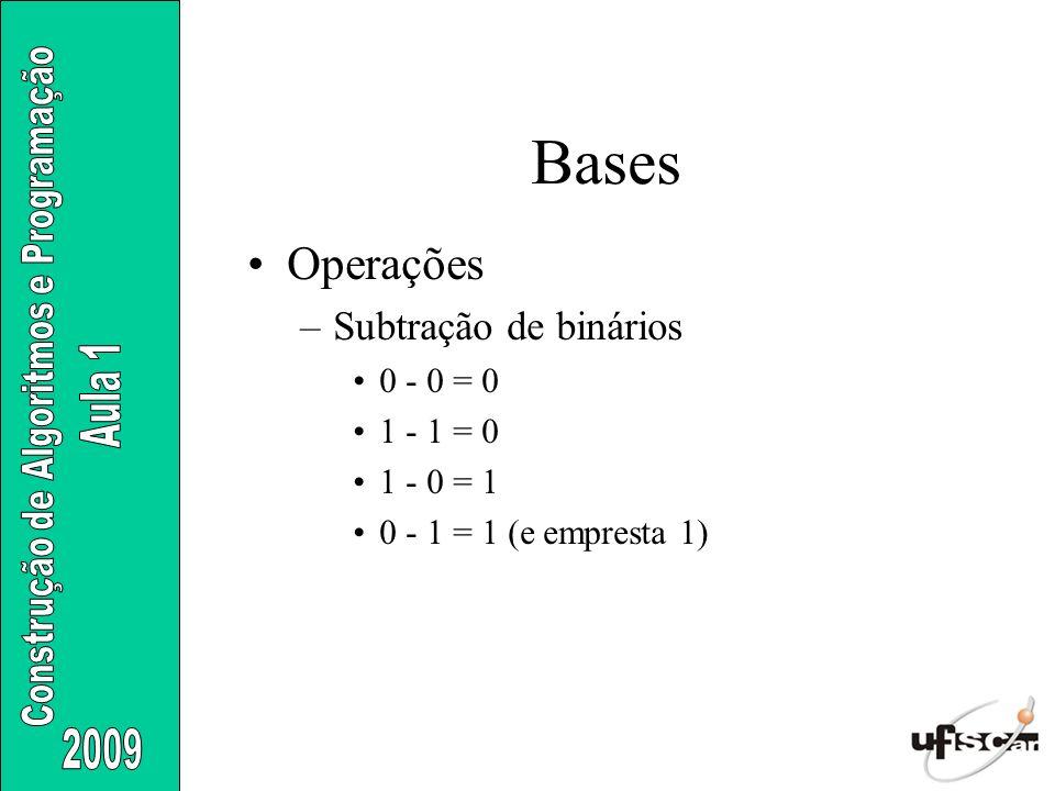 Bases Operações Subtração de binários 0 - 0 = 0 1 - 1 = 0 1 - 0 = 1