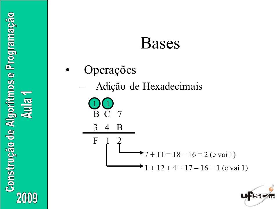 Bases Operações Adição de Hexadecimais B C 7 3 4 B F 1 2